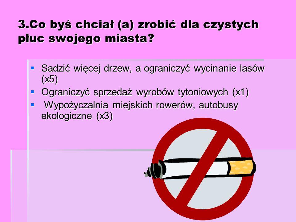 3.Co byś chciał (a) zrobić dla czystych płuc swojego miasta