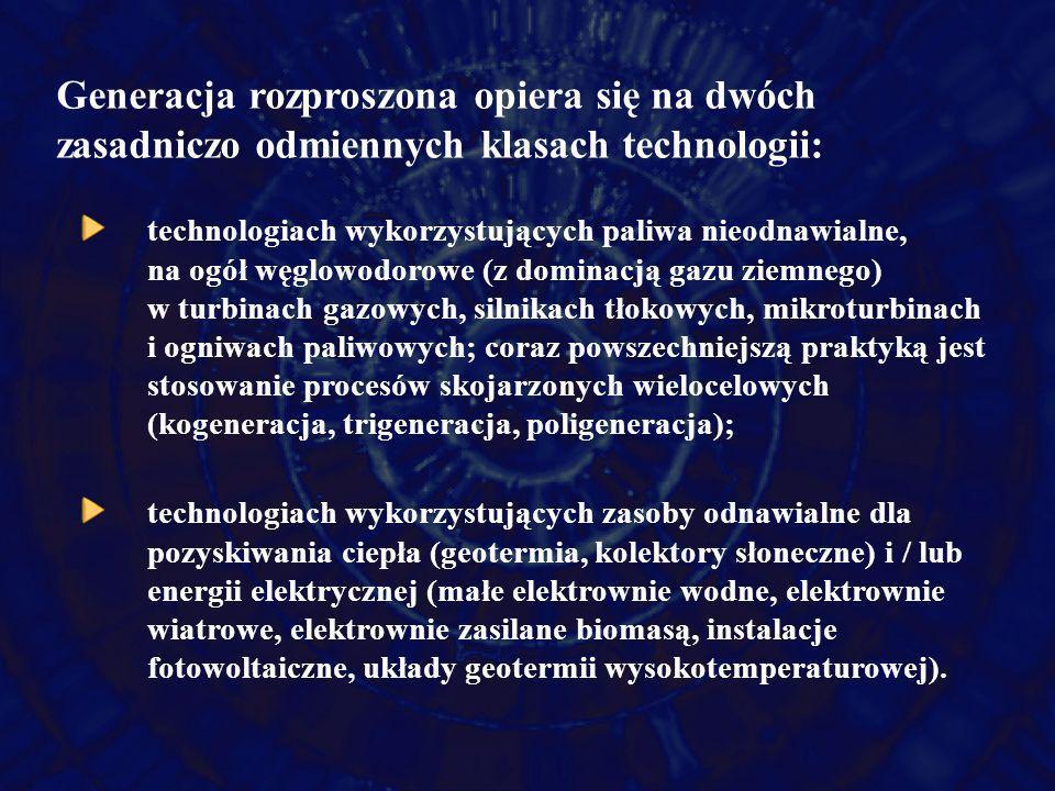 Generacja rozproszona opiera się na dwóch zasadniczo odmiennych klasach technologii: