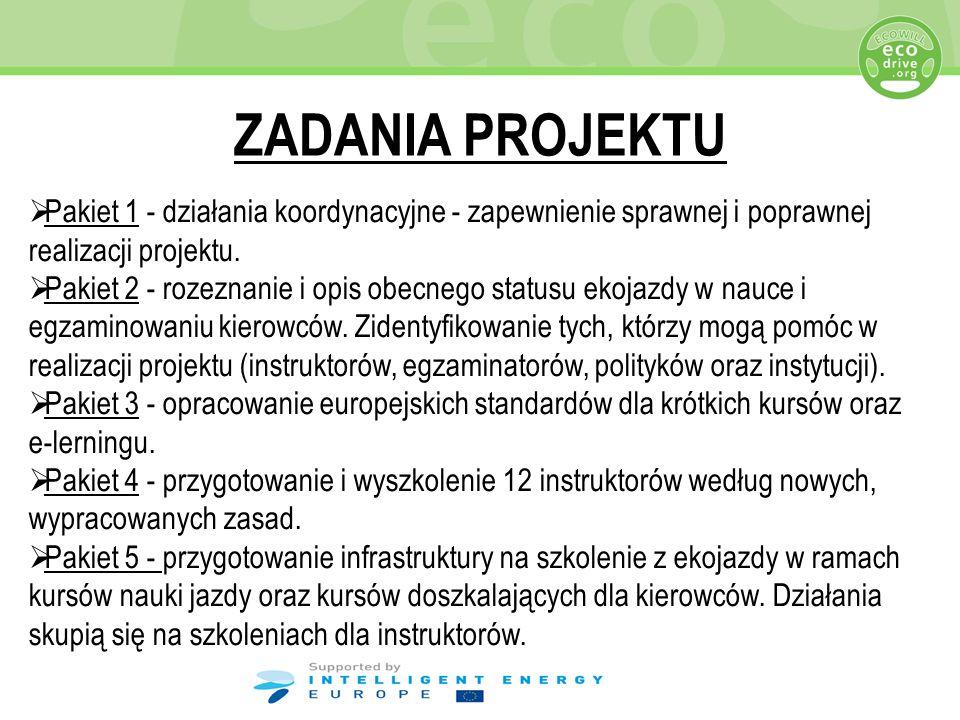 ZADANIA PROJEKTU Pakiet 1 - działania koordynacyjne - zapewnienie sprawnej i poprawnej realizacji projektu.