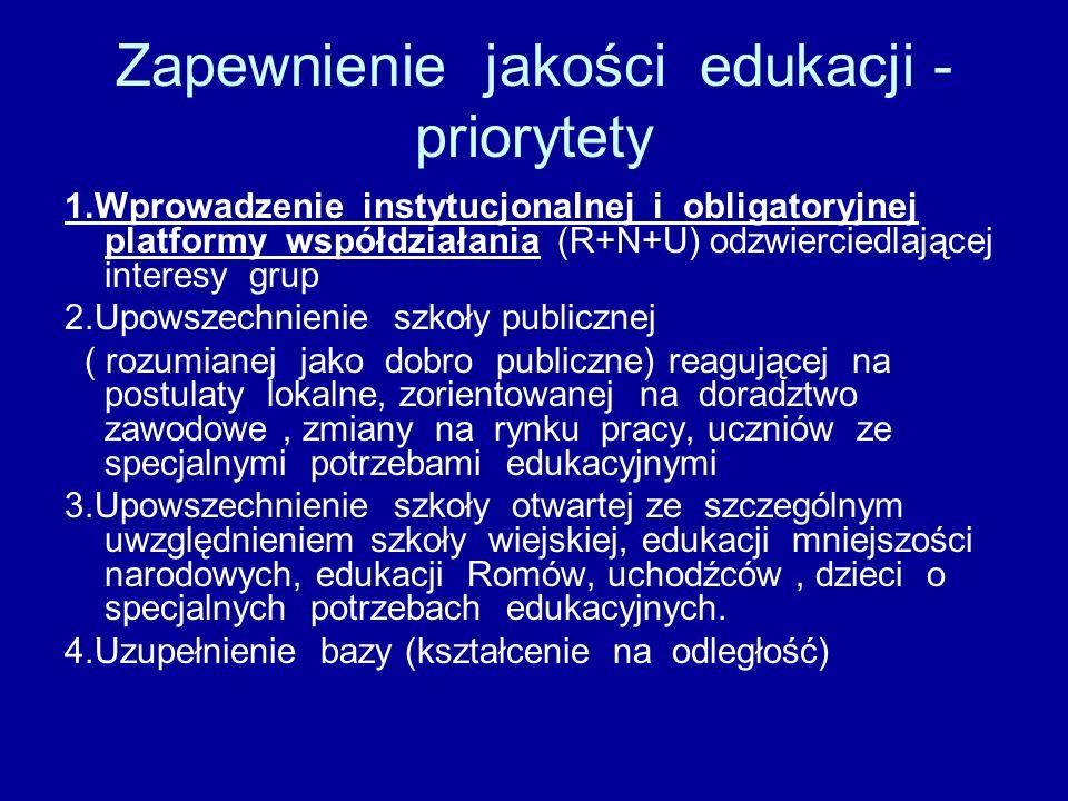 Zapewnienie jakości edukacji - priorytety