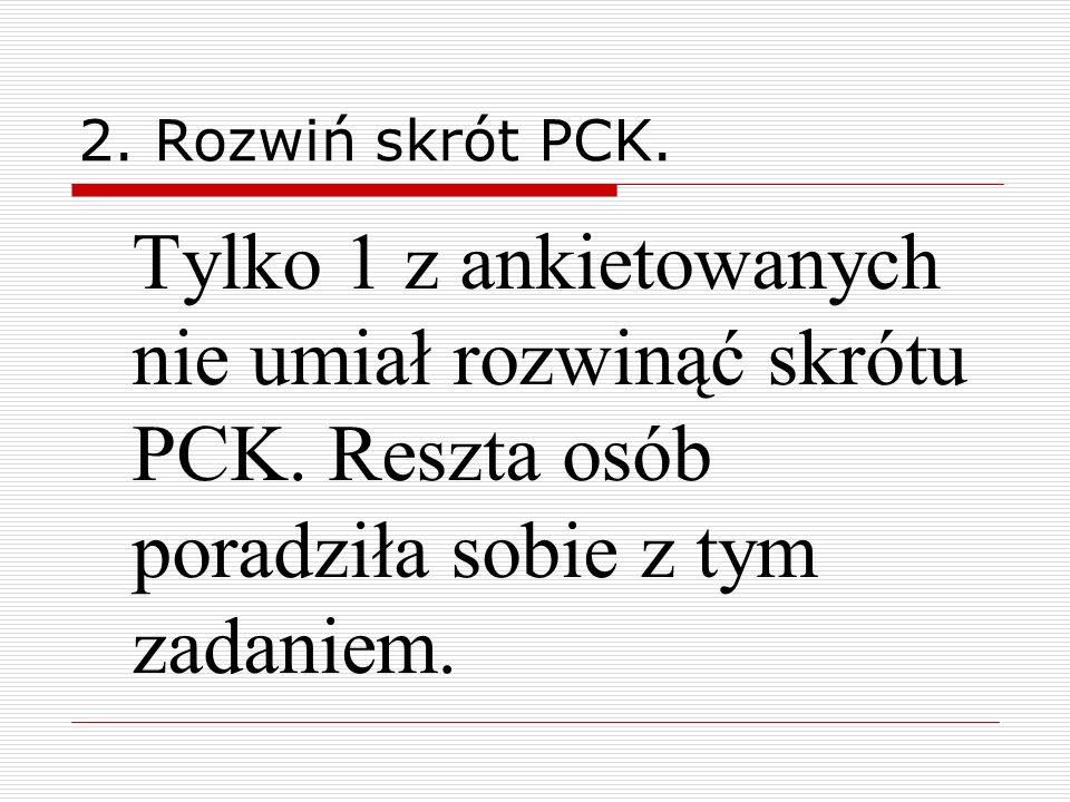 2. Rozwiń skrót PCK. Tylko 1 z ankietowanych nie umiał rozwinąć skrótu PCK.