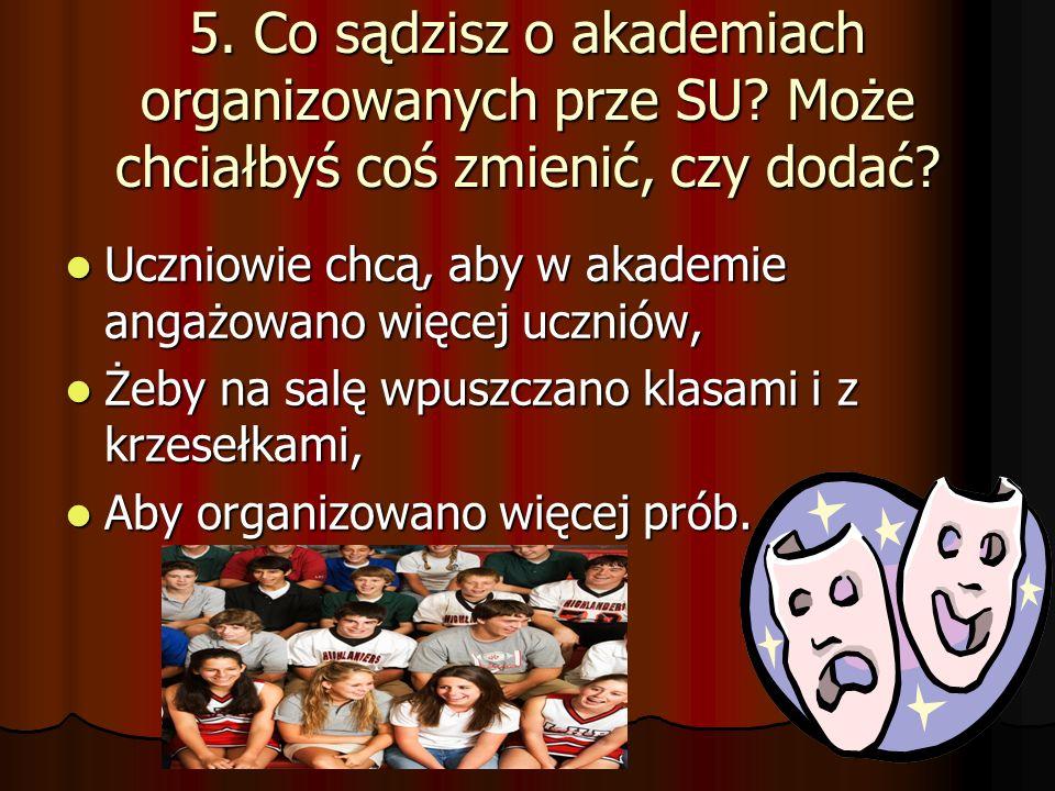 5. Co sądzisz o akademiach organizowanych prze SU