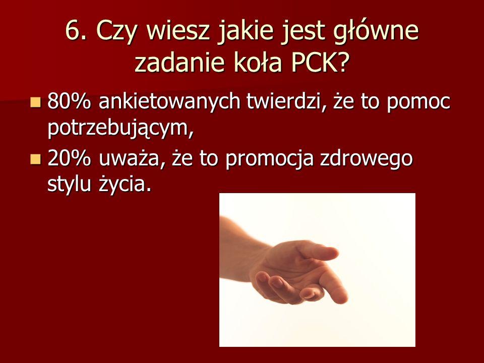 6. Czy wiesz jakie jest główne zadanie koła PCK