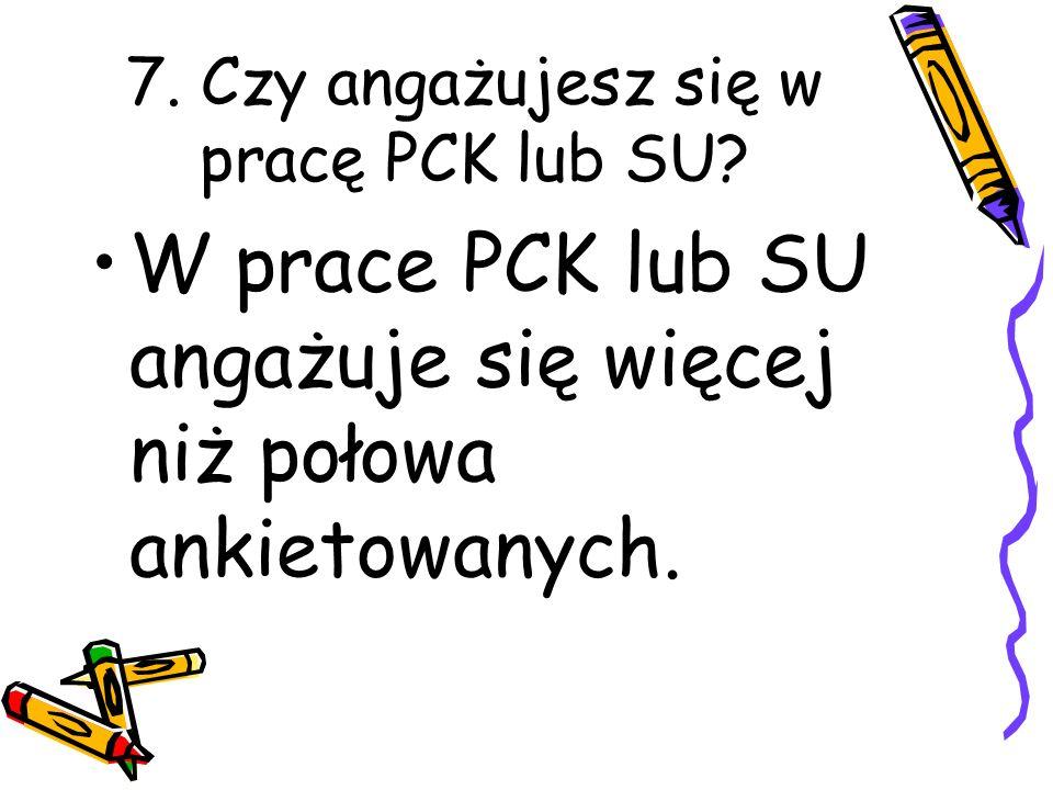 7. Czy angażujesz się w pracę PCK lub SU