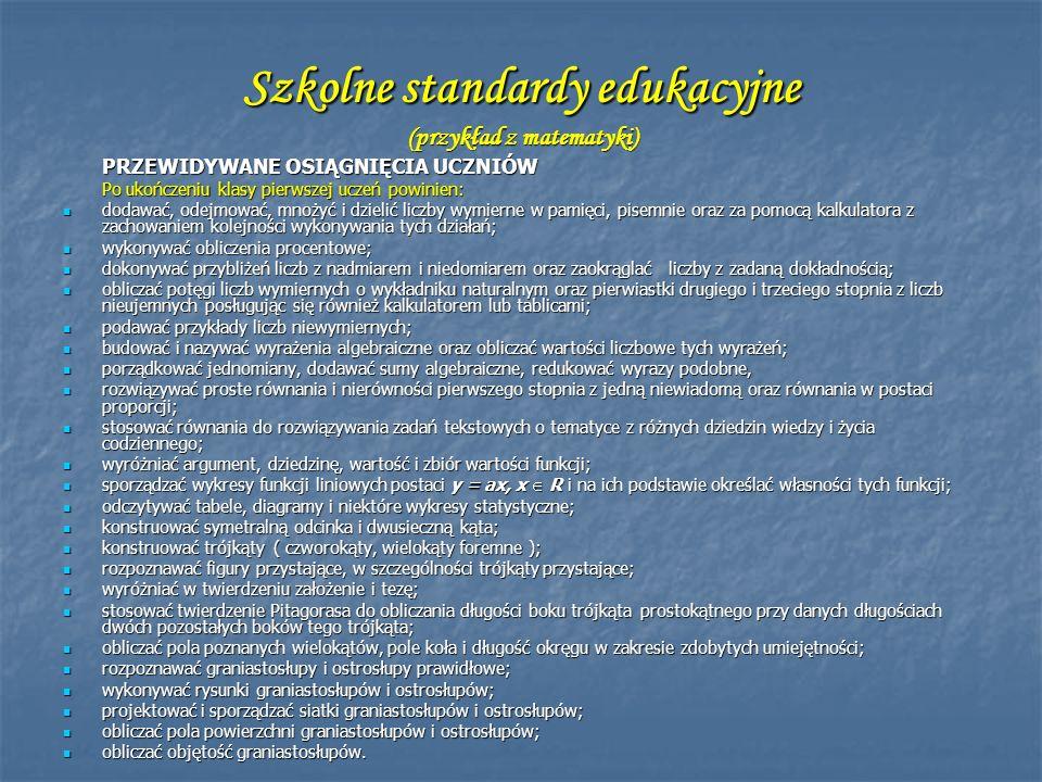 Szkolne standardy edukacyjne (przykład z matematyki)
