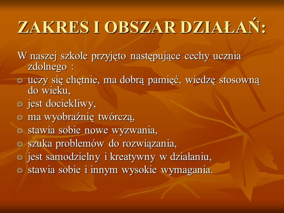 ZAKRES I OBSZAR DZIAŁAŃ:
