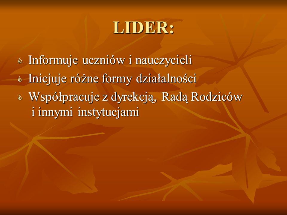 LIDER: Informuje uczniów i nauczycieli