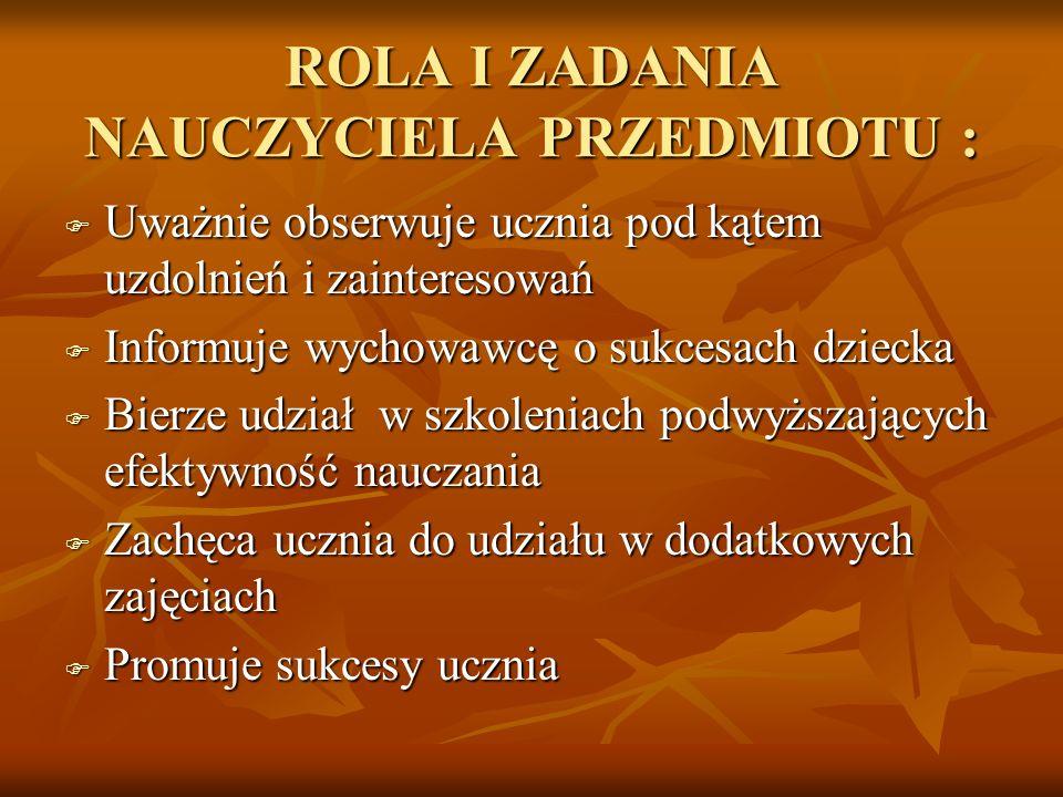 ROLA I ZADANIA NAUCZYCIELA PRZEDMIOTU :