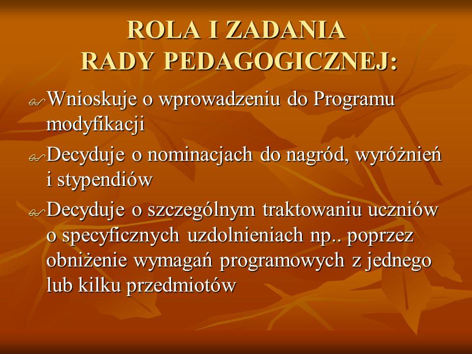 ROLA I ZADANIA RADY PEDAGOGICZNEJ: