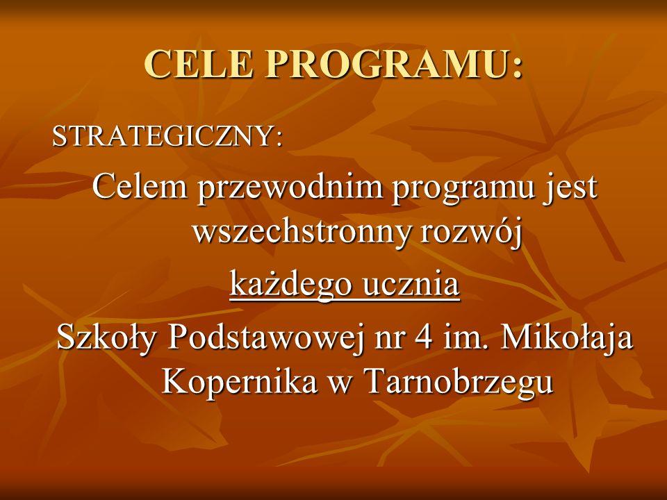 CELE PROGRAMU: Celem przewodnim programu jest wszechstronny rozwój