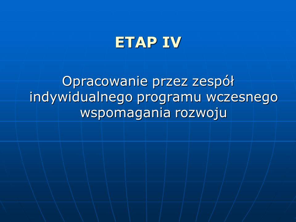 ETAP IV Opracowanie przez zespół indywidualnego programu wczesnego wspomagania rozwoju