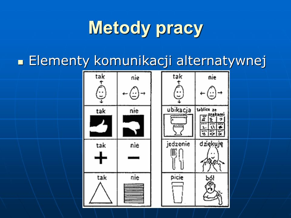 Metody pracy Elementy komunikacji alternatywnej