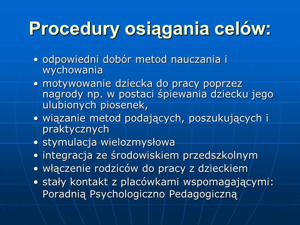 Procedury osiągania celów: