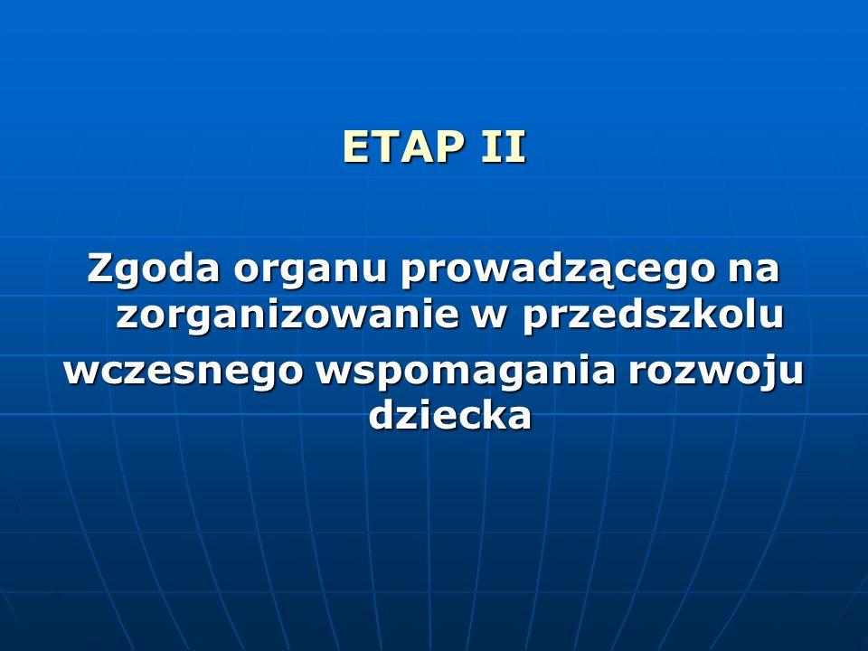 ETAP II Zgoda organu prowadzącego na zorganizowanie w przedszkolu