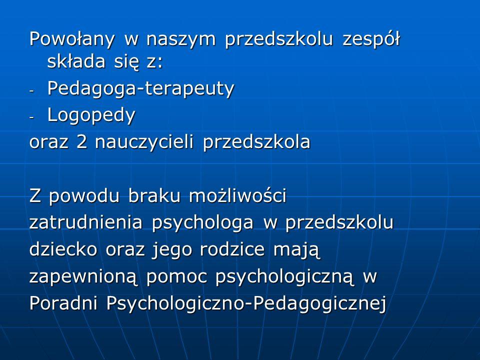 Powołany w naszym przedszkolu zespół składa się z: