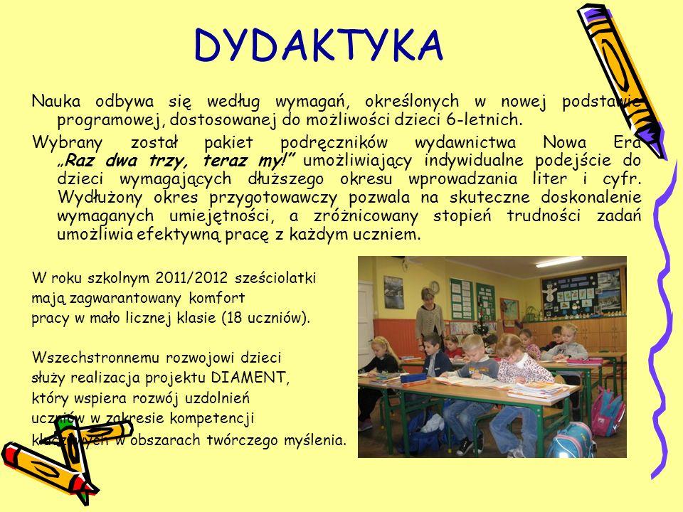 DYDAKTYKA Nauka odbywa się według wymagań, określonych w nowej podstawie programowej, dostosowanej do możliwości dzieci 6-letnich.