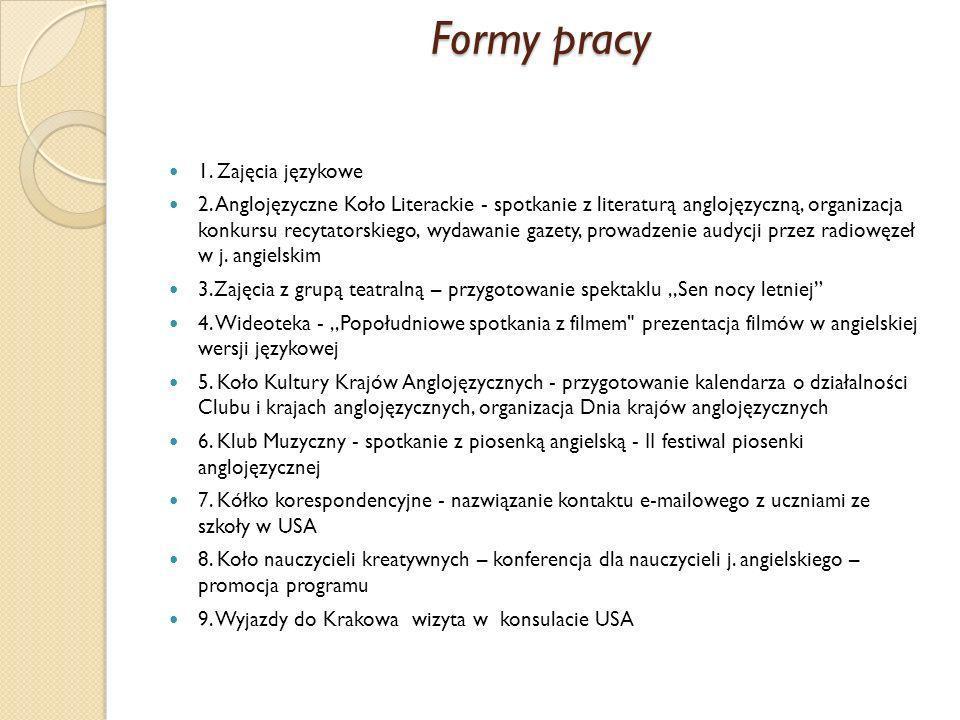 Formy pracy 1. Zajęcia językowe