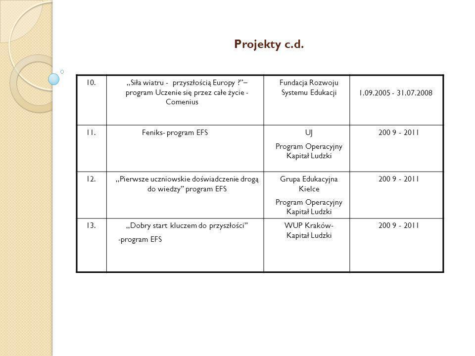 Projekty c.d. 10. ,,Siła wiatru - przyszłością Europy – program Uczenie się przez całe życie - Comenius.