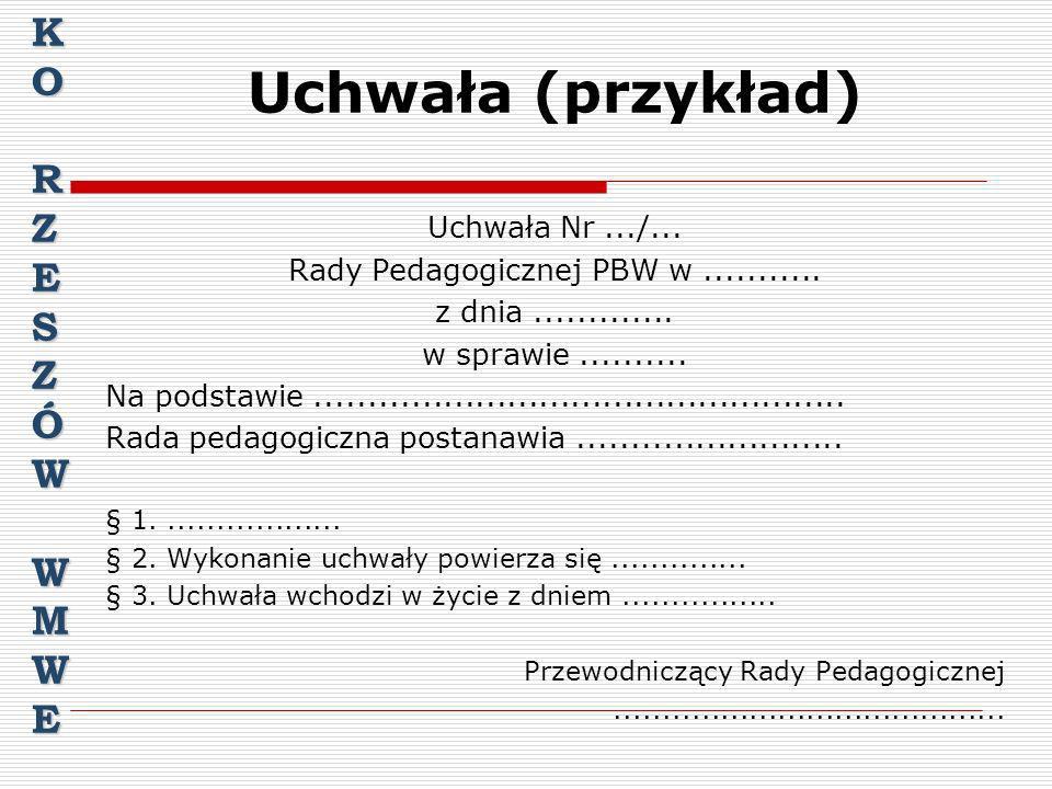 Rady Pedagogicznej PBW w ...........