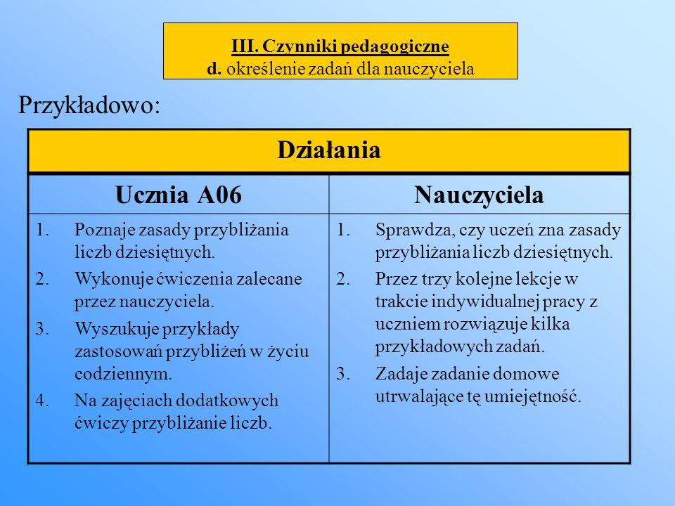 III. Czynniki pedagogiczne d. określenie zadań dla nauczyciela