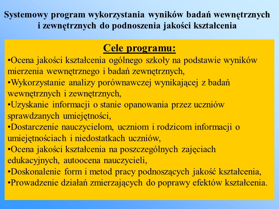 Systemowy program wykorzystania wyników badań wewnętrznych