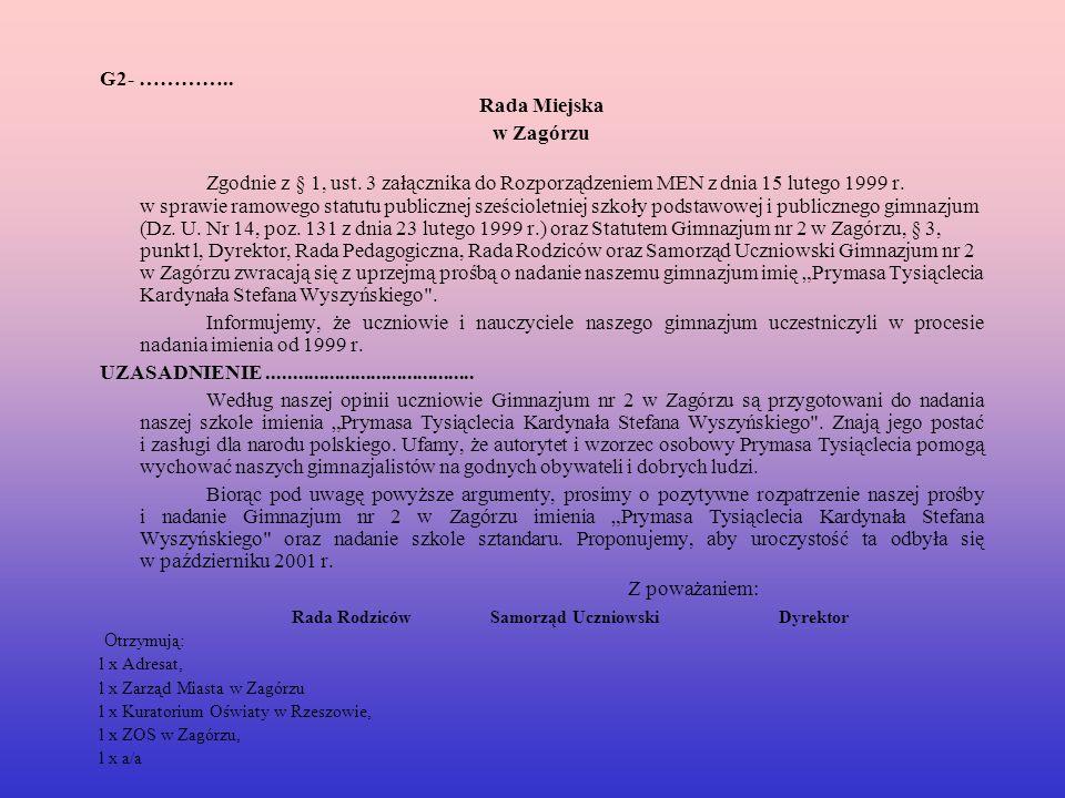 Rada Rodziców Samorząd Uczniowski Dyrektor