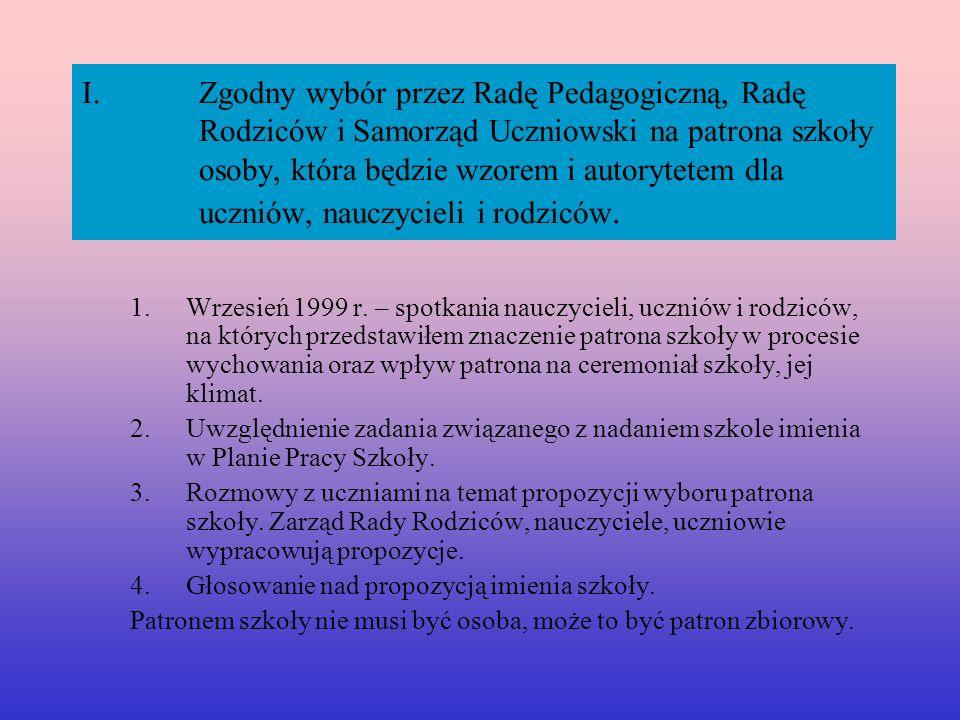 Zgodny wybór przez Radę Pedagogiczną, Radę Rodziców i Samorząd Uczniowski na patrona szkoły osoby, która będzie wzorem i autorytetem dla uczniów, nauczycieli i rodziców.