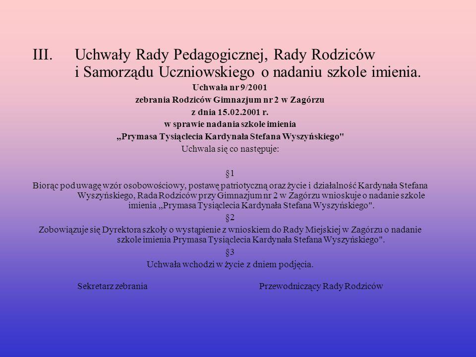 Uchwały Rady Pedagogicznej, Rady Rodziców i Samorządu Uczniowskiego o nadaniu szkole imienia.