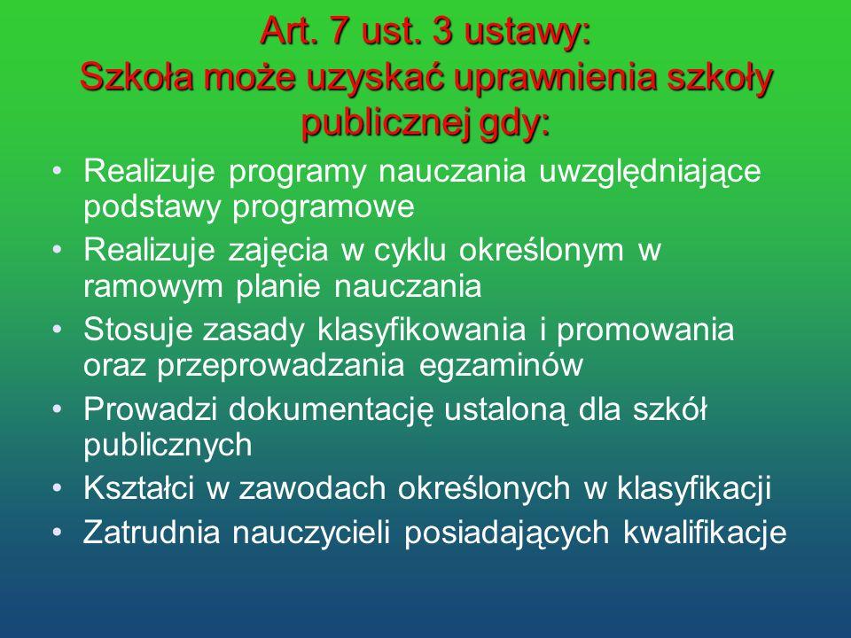 Art. 7 ust. 3 ustawy: Szkoła może uzyskać uprawnienia szkoły publicznej gdy: