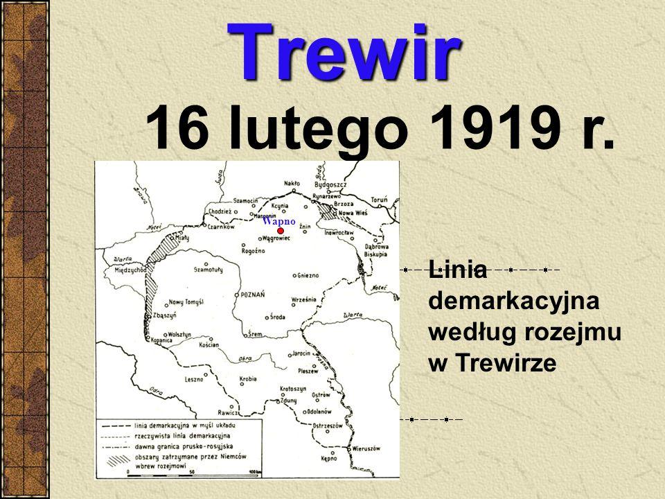 Trewir 16 lutego 1919 r. Linia demarkacyjna według rozejmu w Trewirze
