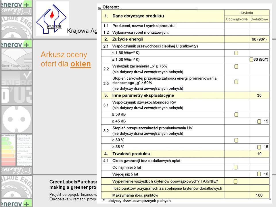 Arkusz oceny ofert dla okien