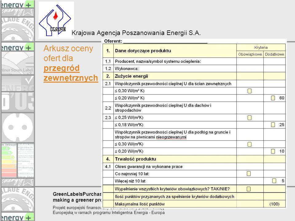 Arkusz oceny ofert dla przegród zewnętrznych