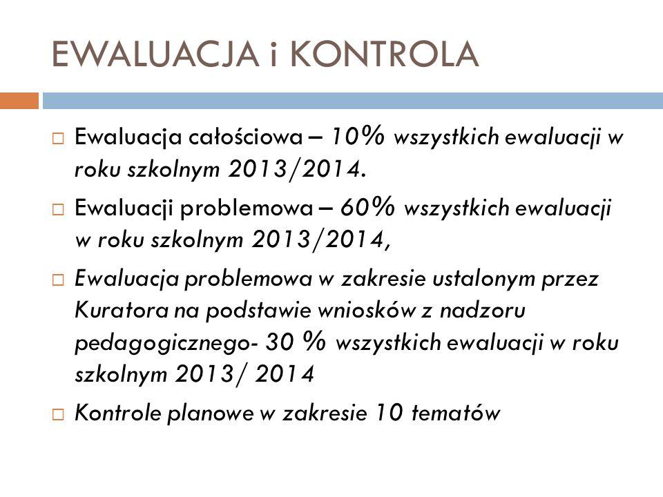 EWALUACJA i KONTROLA Ewaluacja całościowa – 10% wszystkich ewaluacji w roku szkolnym 2013/2014.