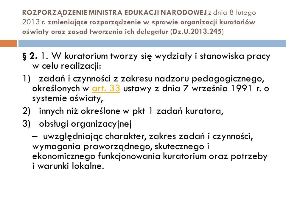 2) innych niż określone w pkt 1 zadań kuratora,