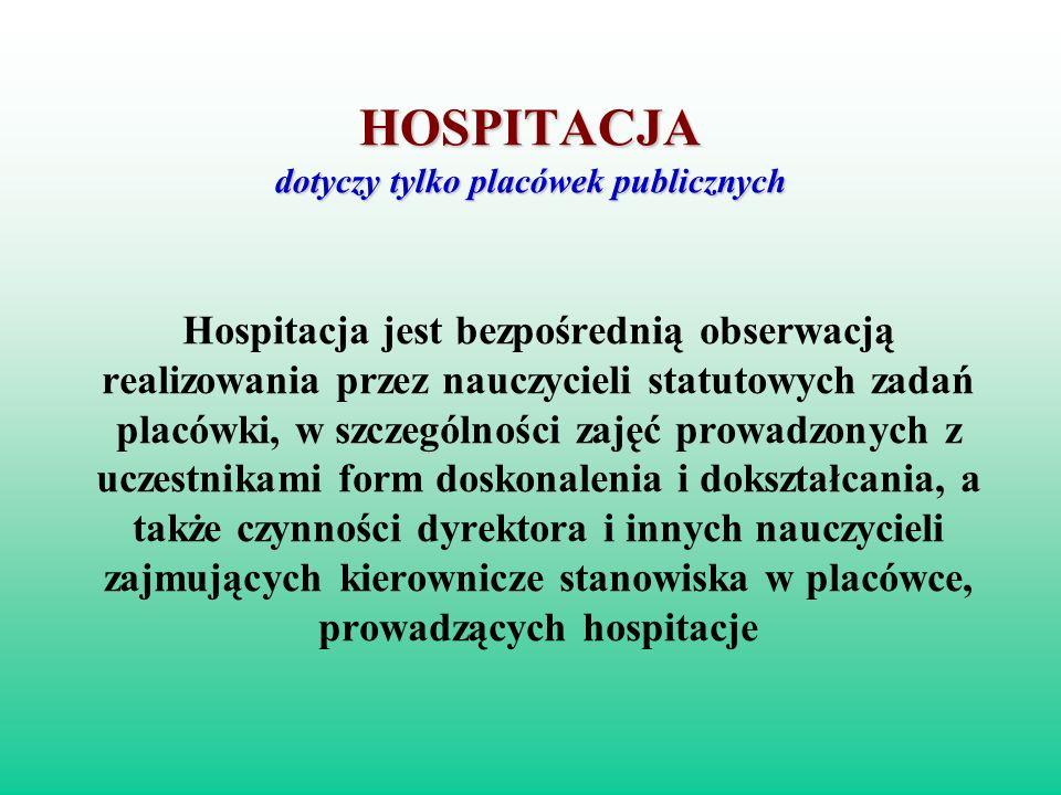 HOSPITACJA dotyczy tylko placówek publicznych