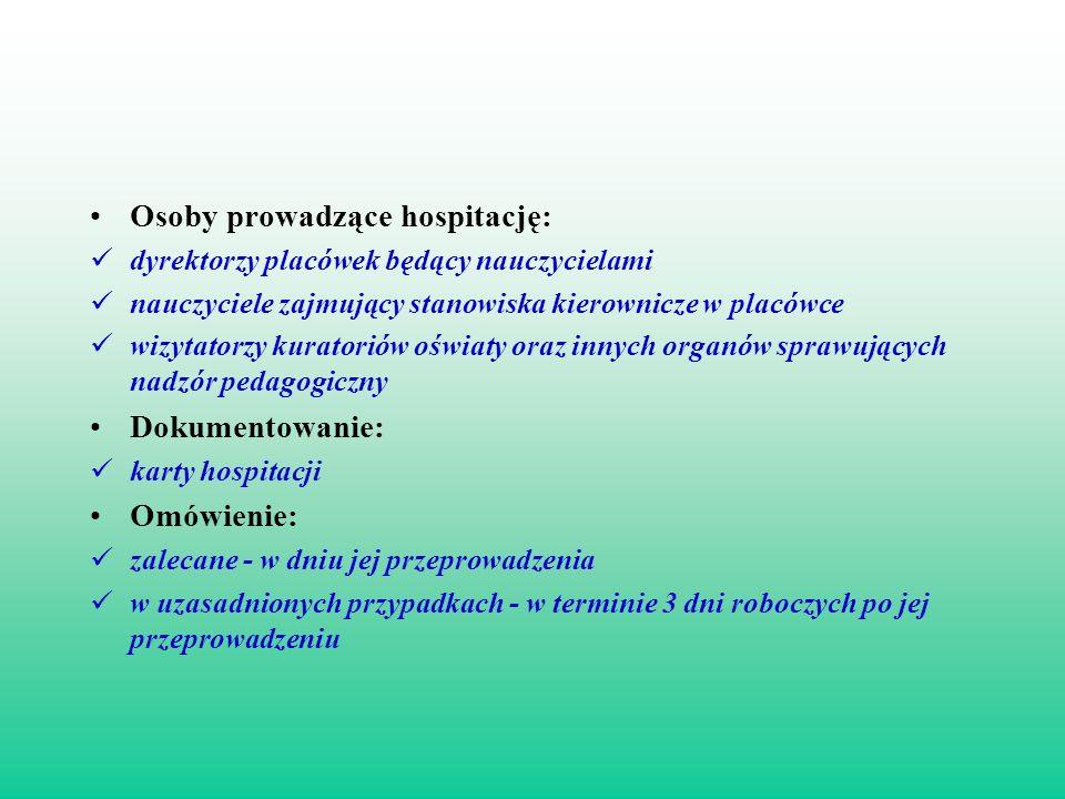 Osoby prowadzące hospitację: