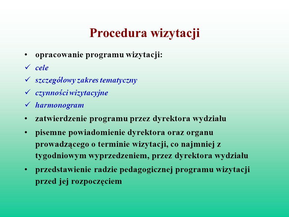 Procedura wizytacji opracowanie programu wizytacji: