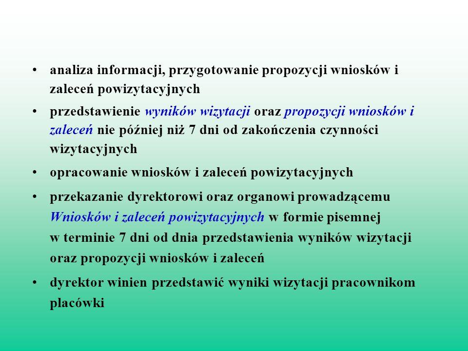 analiza informacji, przygotowanie propozycji wniosków i zaleceń powizytacyjnych