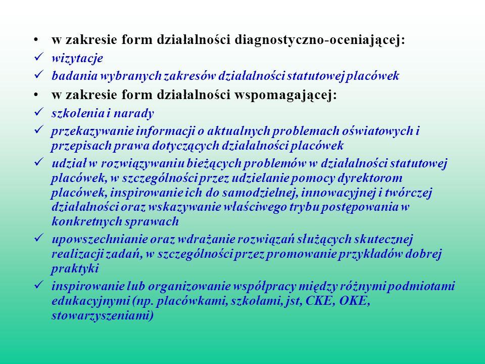 w zakresie form działalności diagnostyczno-oceniającej: