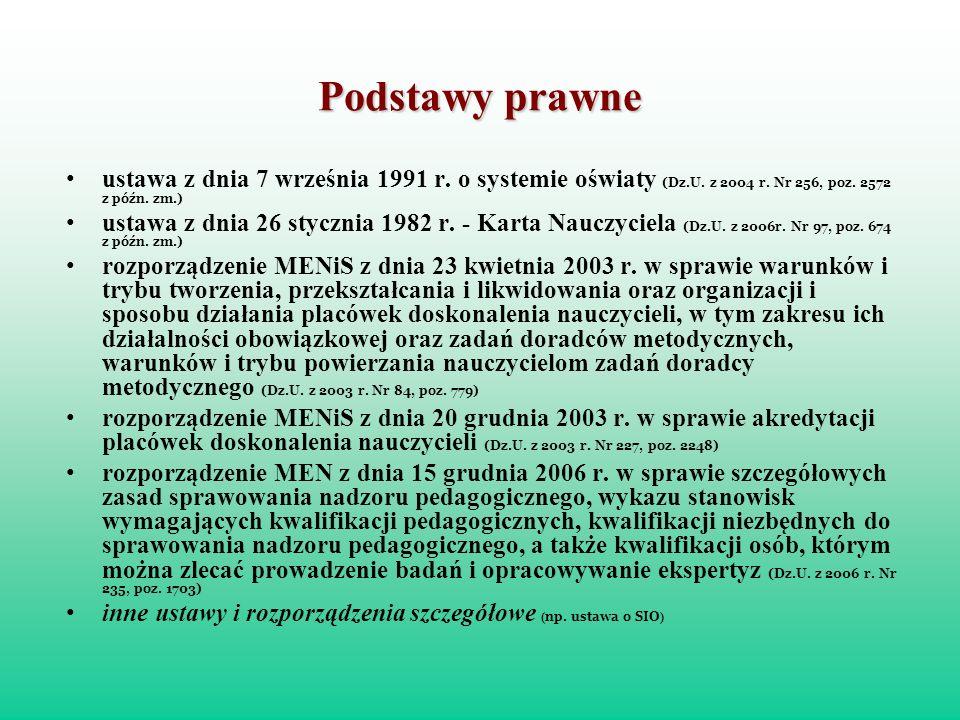 Podstawy prawne ustawa z dnia 7 września 1991 r. o systemie oświaty (Dz.U. z 2004 r. Nr 256, poz. 2572 z późn. zm.)