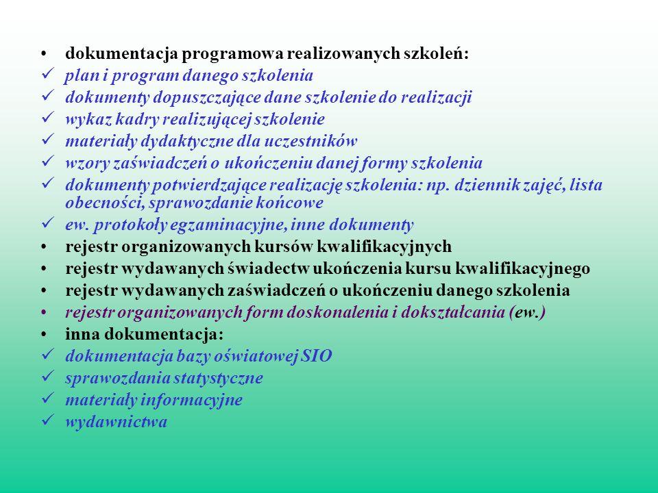 dokumentacja programowa realizowanych szkoleń: