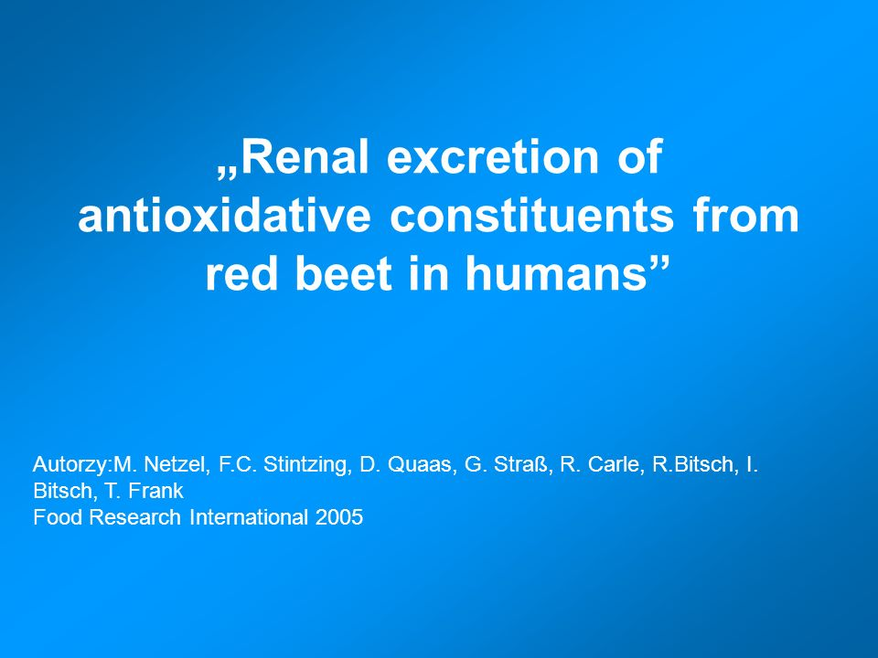 """Renal excretion of antioxidative constituents from red beet in humans"