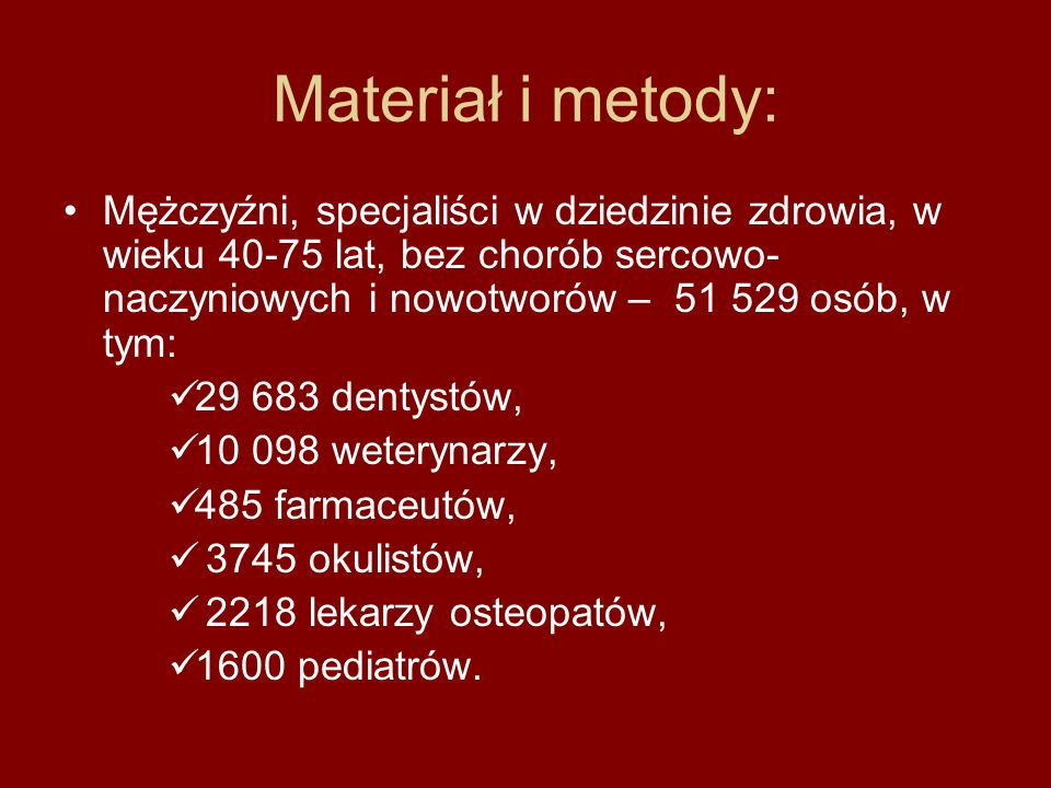 Materiał i metody: