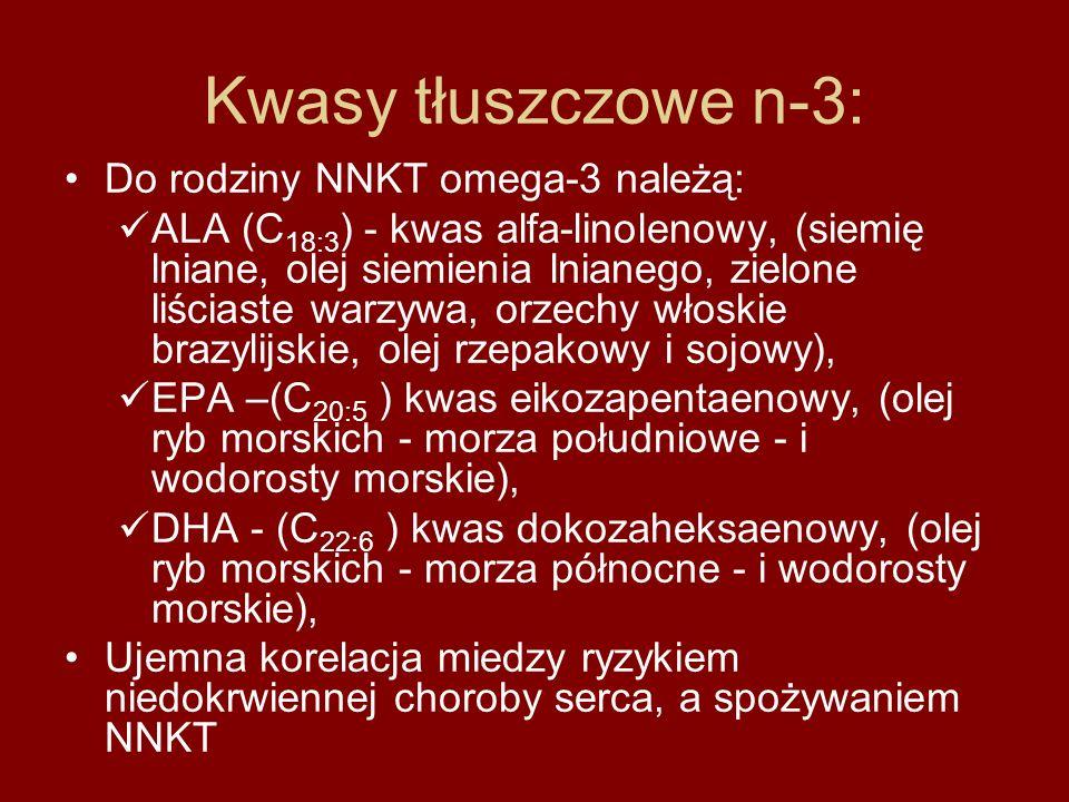 Kwasy tłuszczowe n-3: Do rodziny NNKT omega-3 należą:
