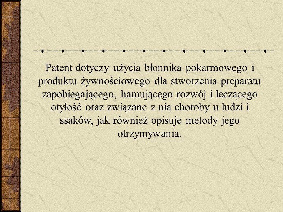 Patent dotyczy użycia błonnika pokarmowego i produktu żywnościowego dla stworzenia preparatu zapobiegającego, hamującego rozwój i leczącego otyłość oraz związane z nią choroby u ludzi i ssaków, jak również opisuje metody jego otrzymywania.