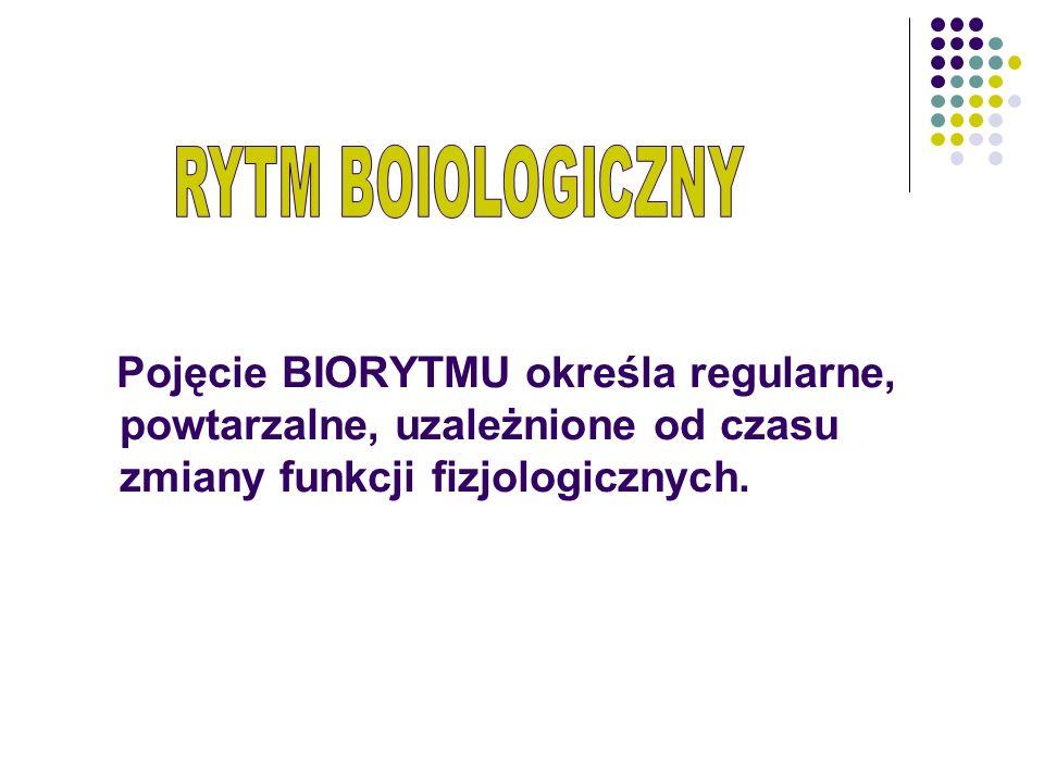 RYTM BOIOLOGICZNY Pojęcie BIORYTMU określa regularne, powtarzalne, uzależnione od czasu zmiany funkcji fizjologicznych.