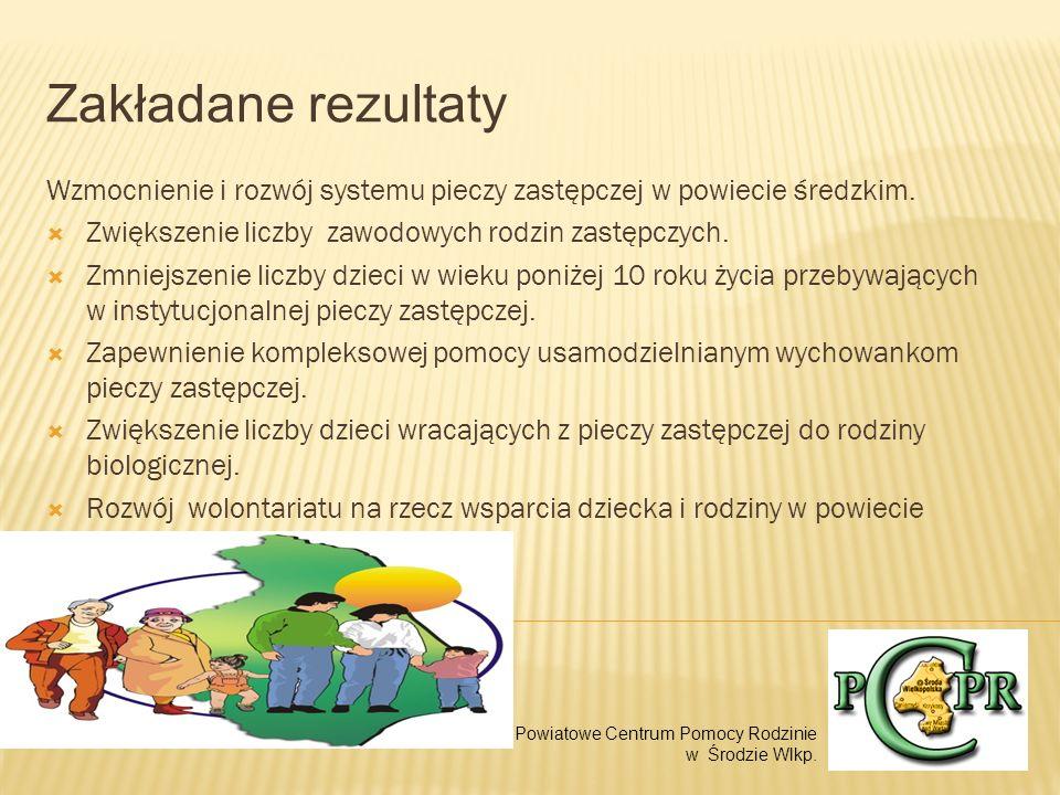 Zakładane rezultaty Wzmocnienie i rozwój systemu pieczy zastępczej w powiecie średzkim. Zwiększenie liczby zawodowych rodzin zastępczych.