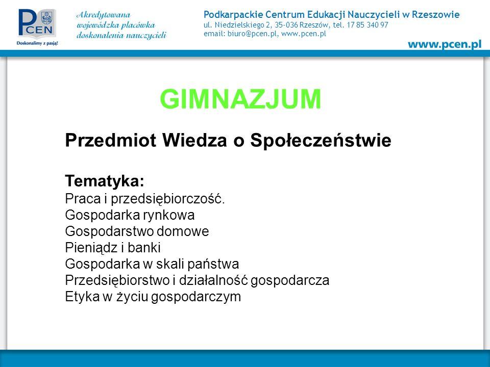 GIMNAZJUM Przedmiot Wiedza o Społeczeństwie Tematyka: