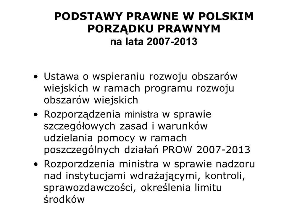 PODSTAWY PRAWNE W POLSKIM PORZĄDKU PRAWNYM na lata 2007-2013