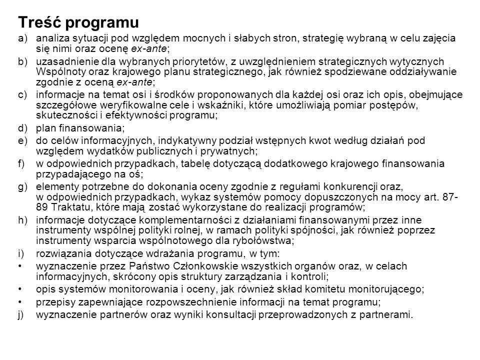 Treść programu a) analiza sytuacji pod względem mocnych i słabych stron, strategię wybraną w celu zajęcia się nimi oraz ocenę ex-ante;